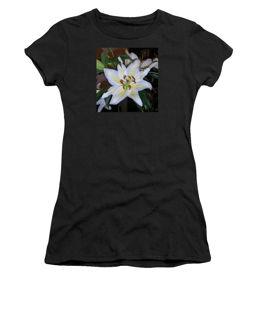 Flower Women's T-Shirt (Athletic Fit) featuring the photograph Fragrant White Lily by Valerie Ornstein