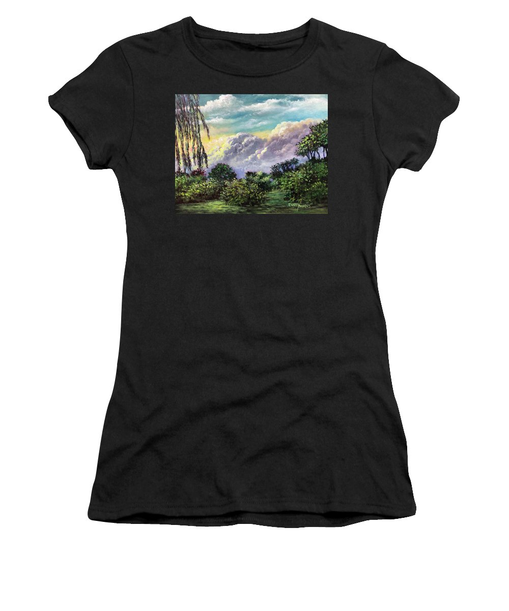 Clouds Women's T-Shirt featuring the painting Framed By Nature/ Enmarcado Por La Naturaleza by Randy Burns