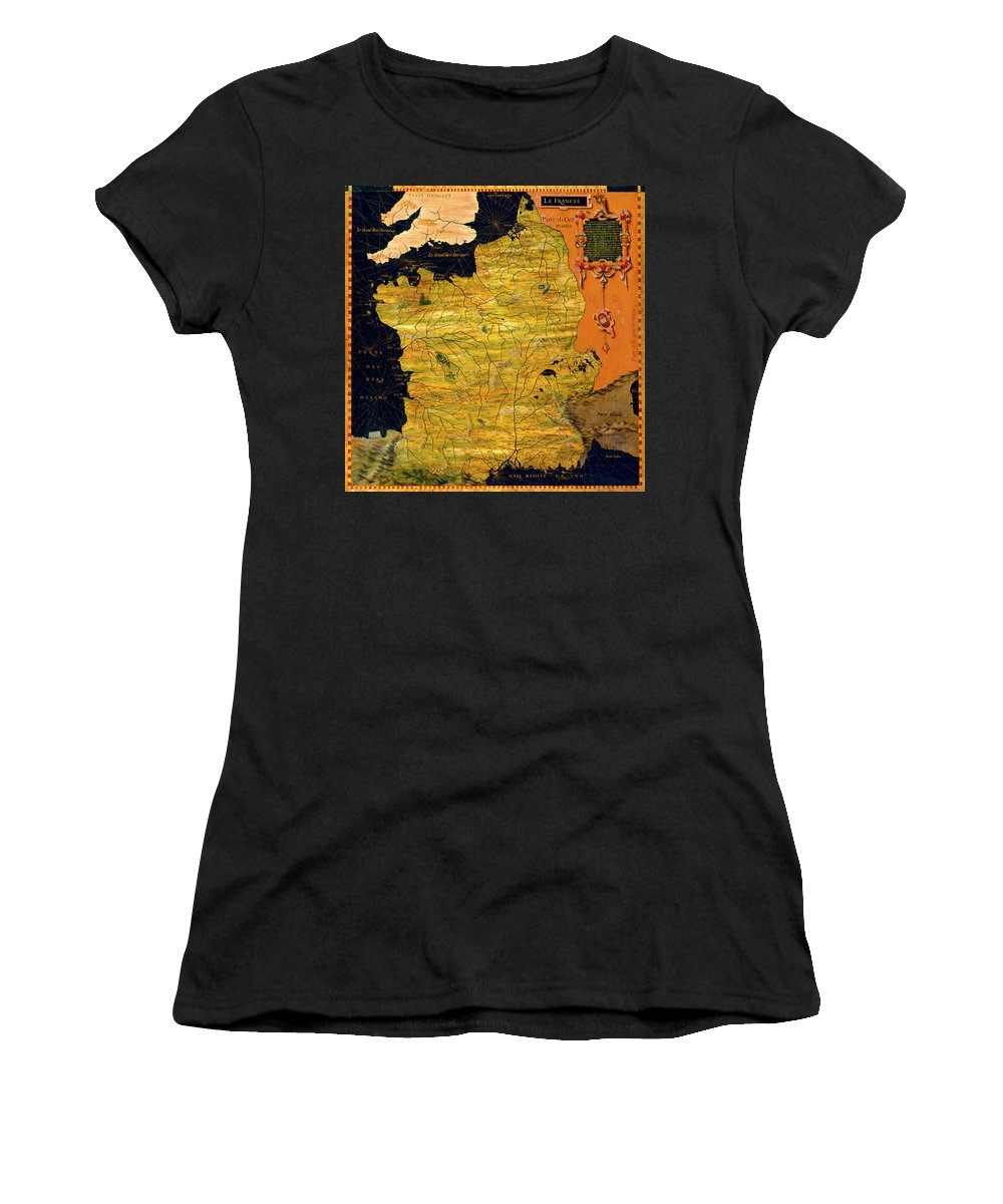 Map Women's T-Shirt featuring the painting France Map by Italian painter of the 16th century