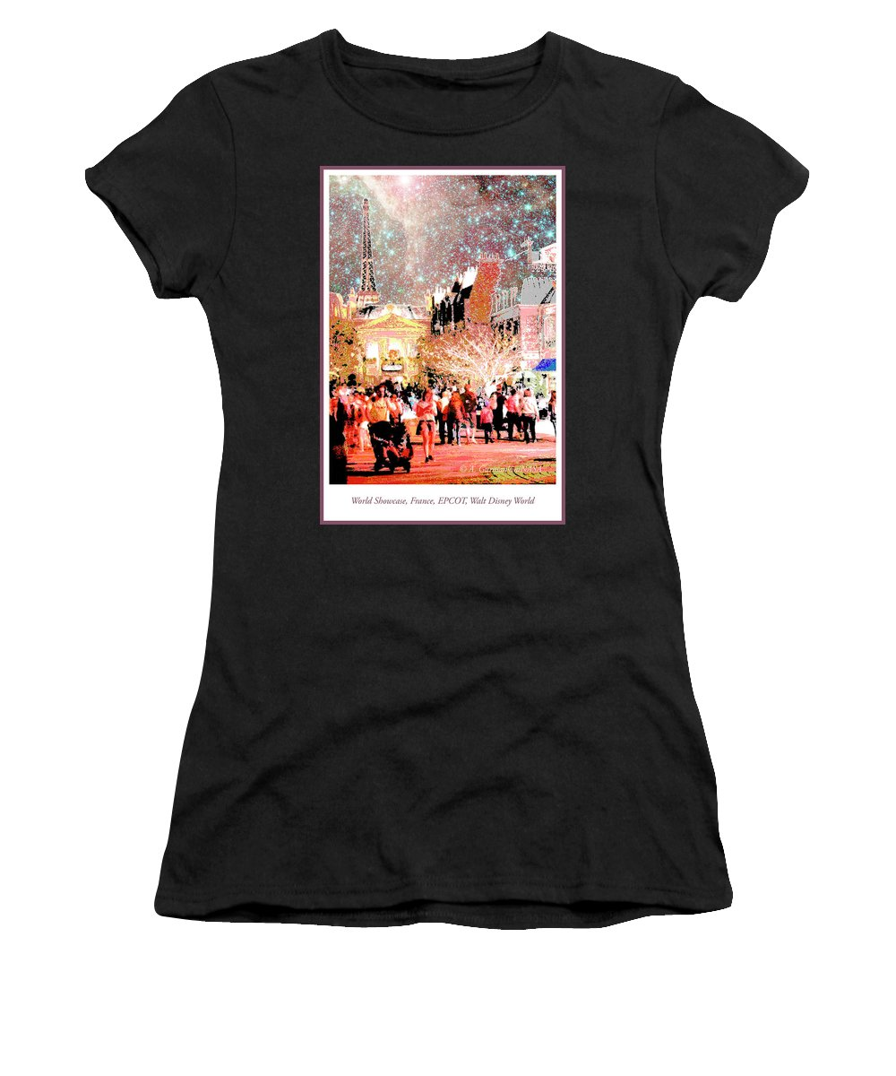 France Pavilion Women's T-Shirt (Athletic Fit) featuring the digital art France Pavilion, World Showcase, Epcot, Walt Disney World by A Gurmankin NASA