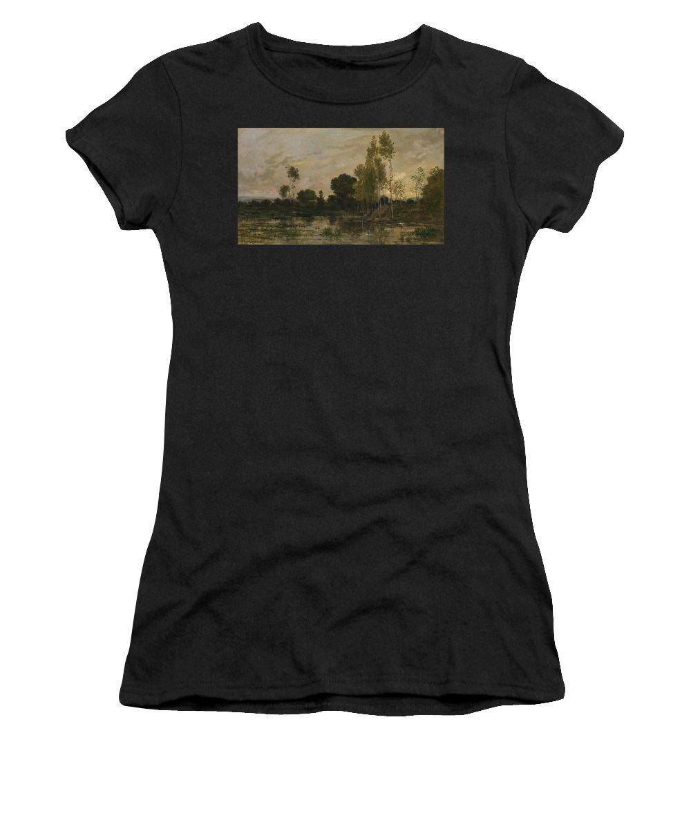 Charles Women's T-Shirt (Athletic Fit) featuring the digital art Francois Daubigny  Alders by PixBreak Art