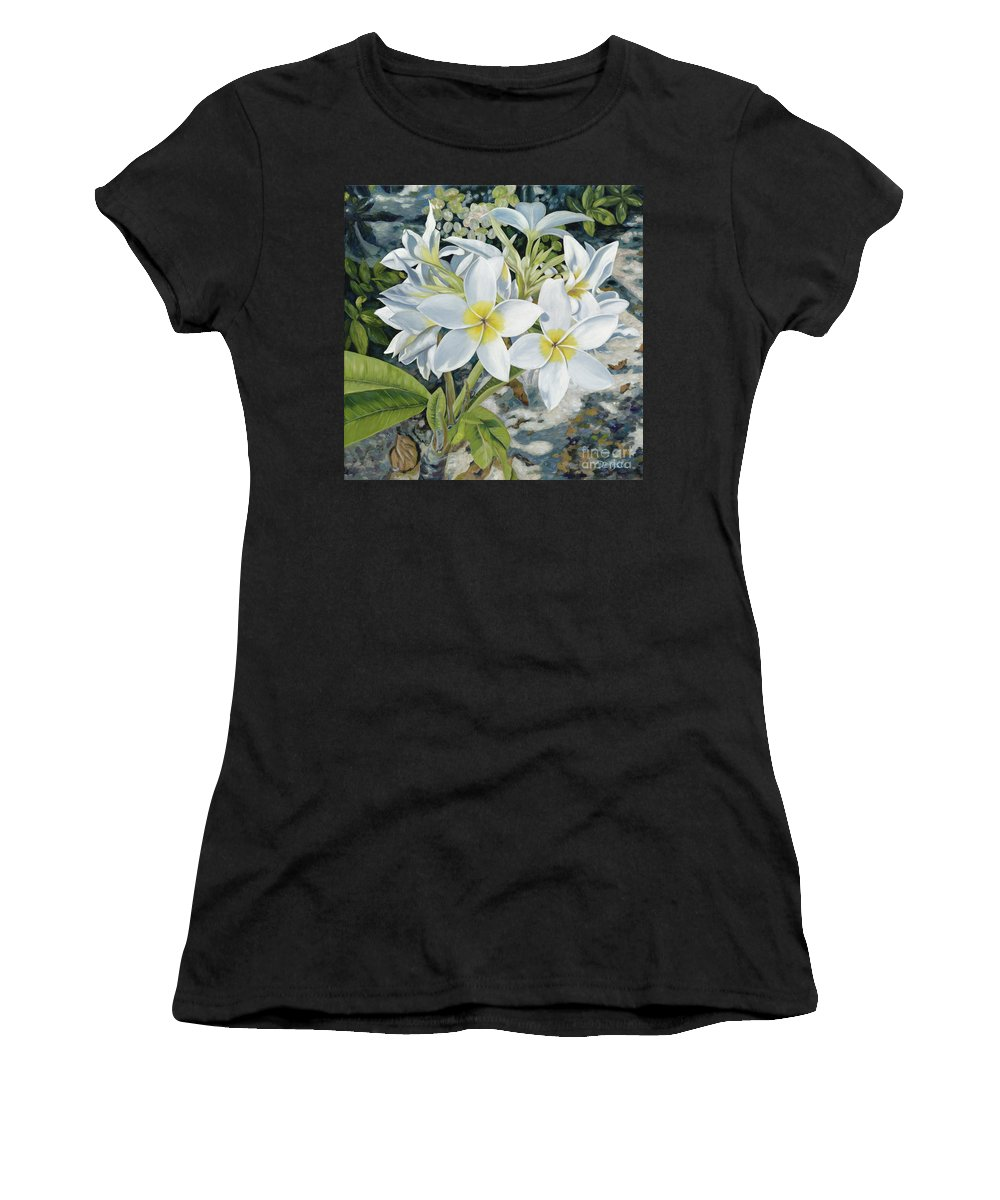 Frangipani Women's T-Shirt featuring the painting Frangipani by Danielle Perry