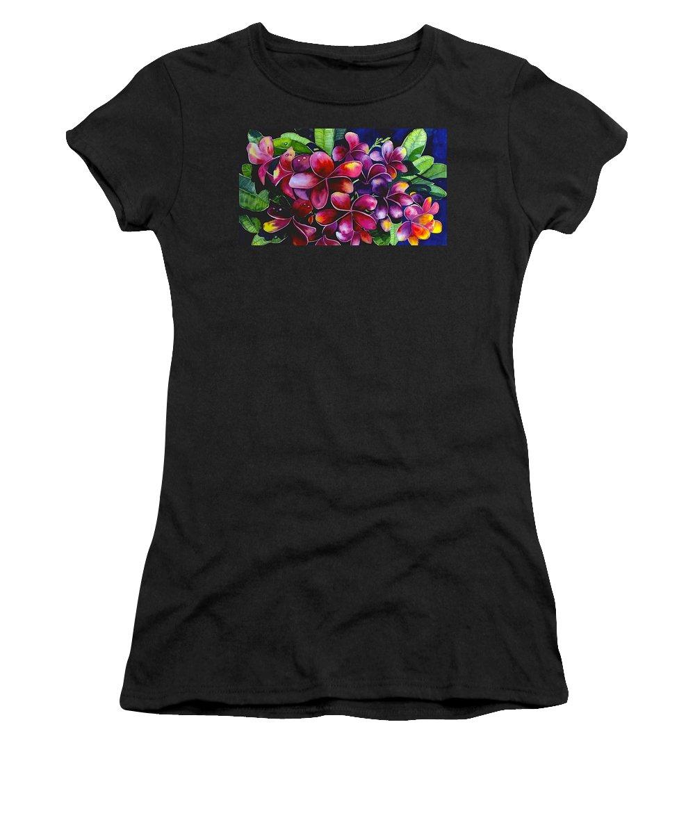 Frangipanni Women's T-Shirt featuring the painting Frangipanni by Georgia Mansur