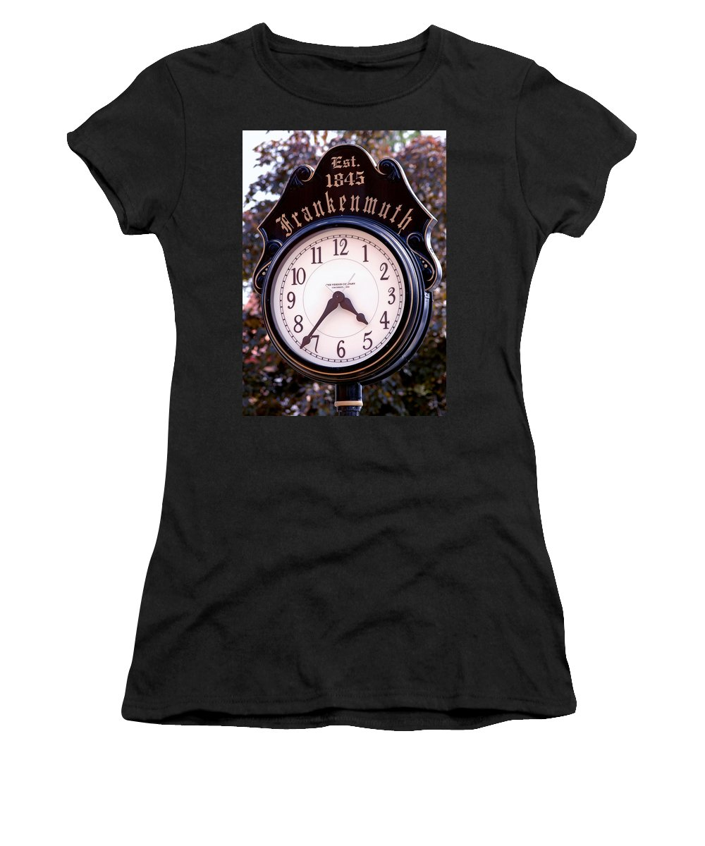 Usa Women's T-Shirt (Athletic Fit) featuring the photograph Frankenmuth Time by LeeAnn McLaneGoetz McLaneGoetzStudioLLCcom