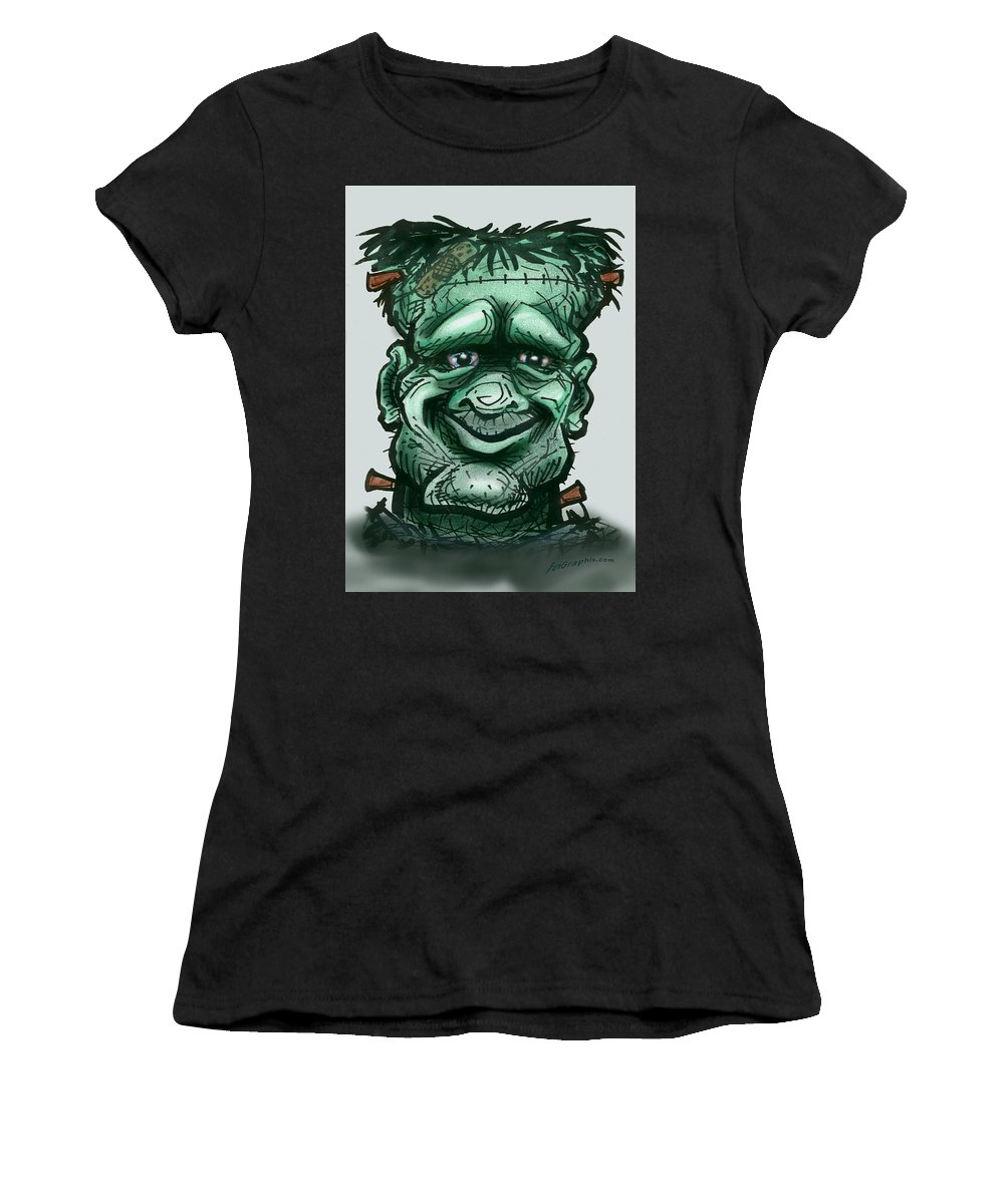 Frankenstein Women's T-Shirt (Athletic Fit) featuring the greeting card Frankenstein by Kevin Middleton