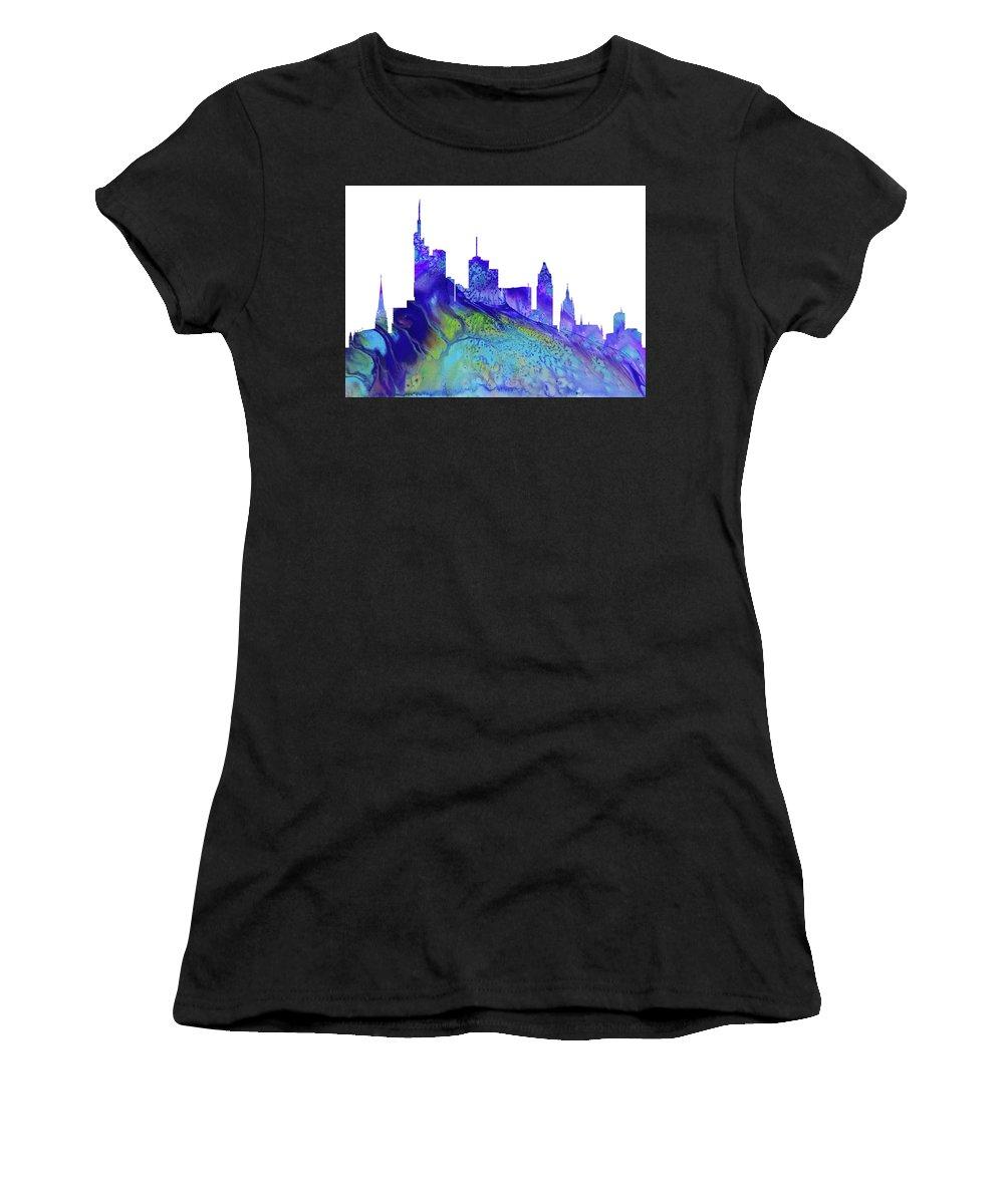 Frankfurt City Skyline Women's T-Shirt featuring the digital art Frankfurt Skyline 3 by Erzebet S
