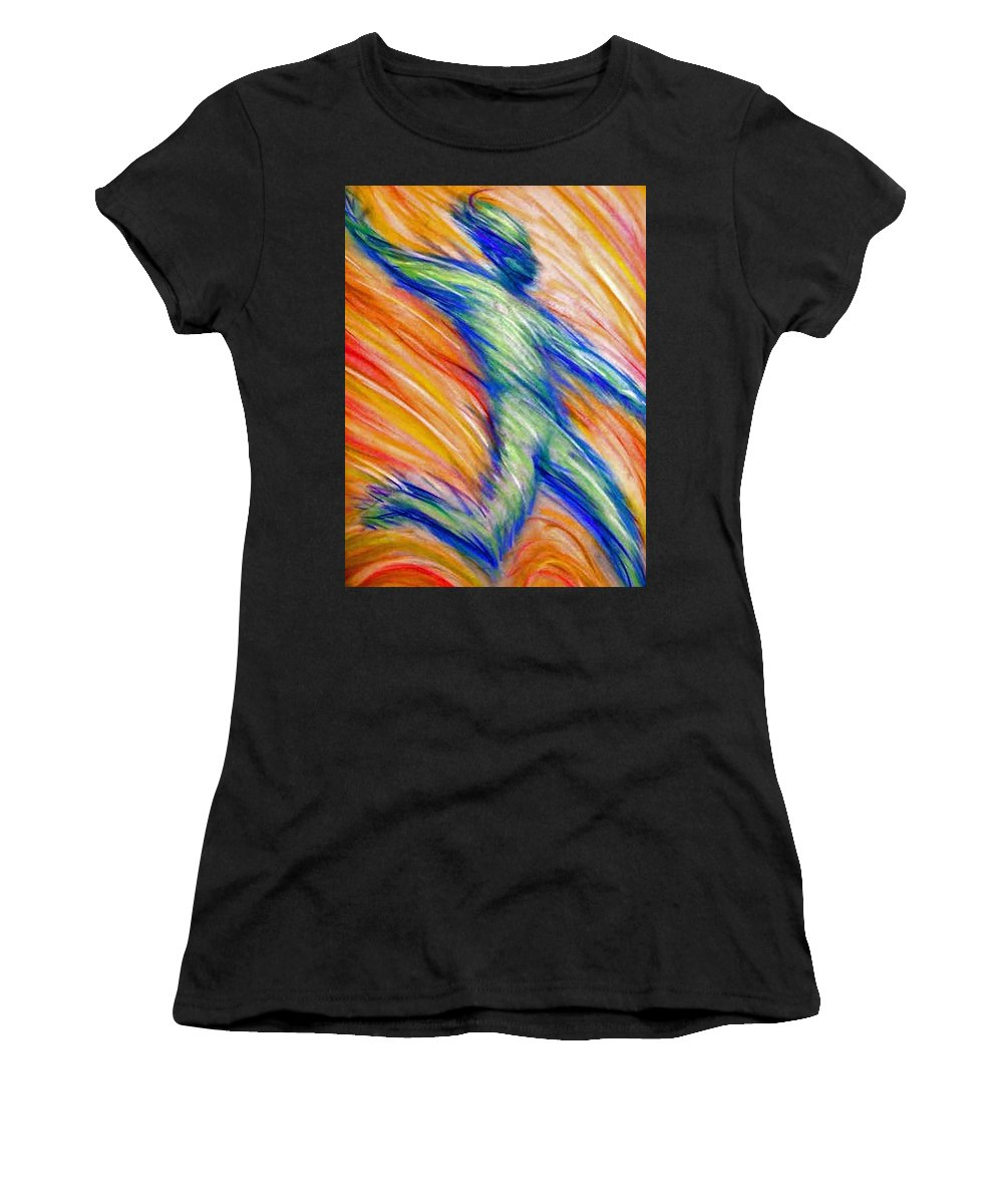 Women's T-Shirt (Athletic Fit) featuring the drawing Free Fall by Jan Gilmore
