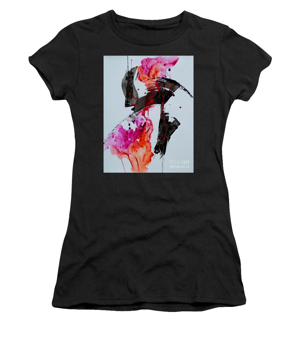 Abstract Expressionism Women's T-Shirt (Athletic Fit) featuring the painting Free Spirit 008 by Donna Frost
