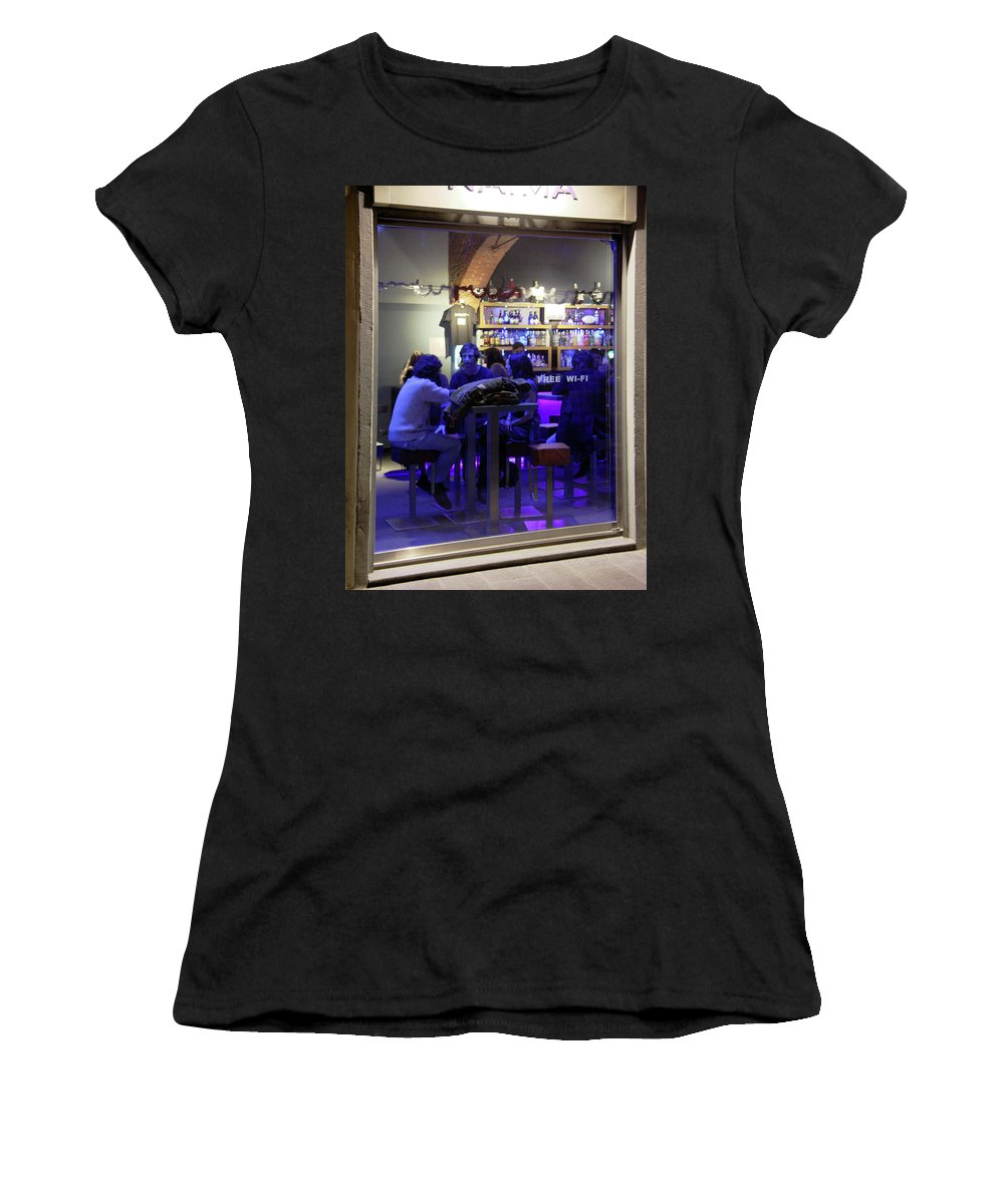 Cafes Women's T-Shirt (Athletic Fit) featuring the photograph Free Wi-fi by Guy Ciarcia