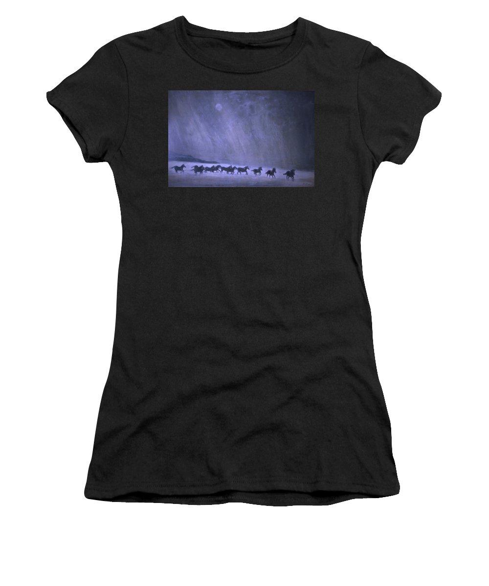 Horse Women's T-Shirt featuring the painting Freedom by Jarmo Korhonen aka Jarko