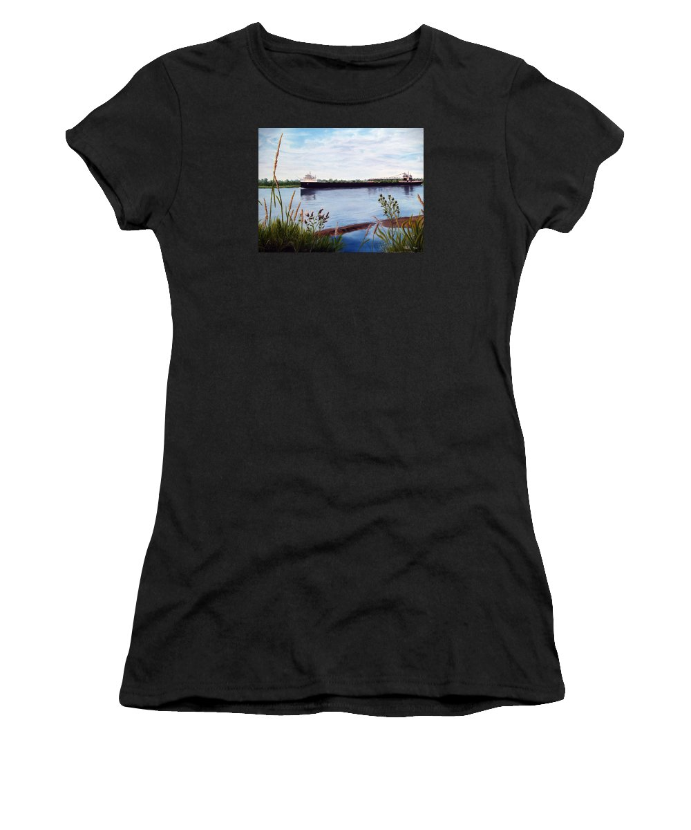 Freighter Women's T-Shirt (Athletic Fit) featuring the painting Freighter by Vicky Path