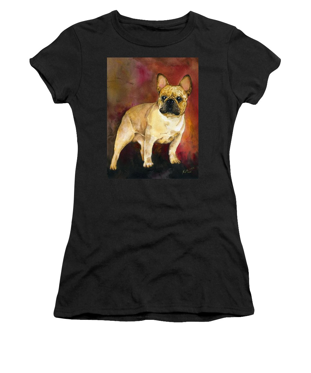 French Bulldog Women's T-Shirt (Athletic Fit) featuring the painting French Bulldog by Kathleen Sepulveda