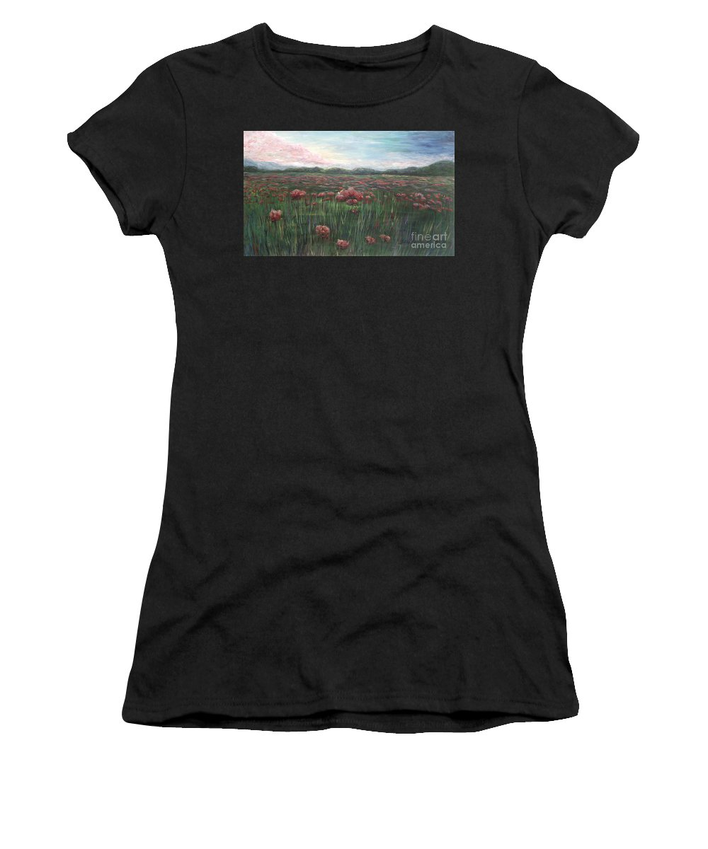 France Women's T-Shirt (Athletic Fit) featuring the painting French Poppies by Nadine Rippelmeyer