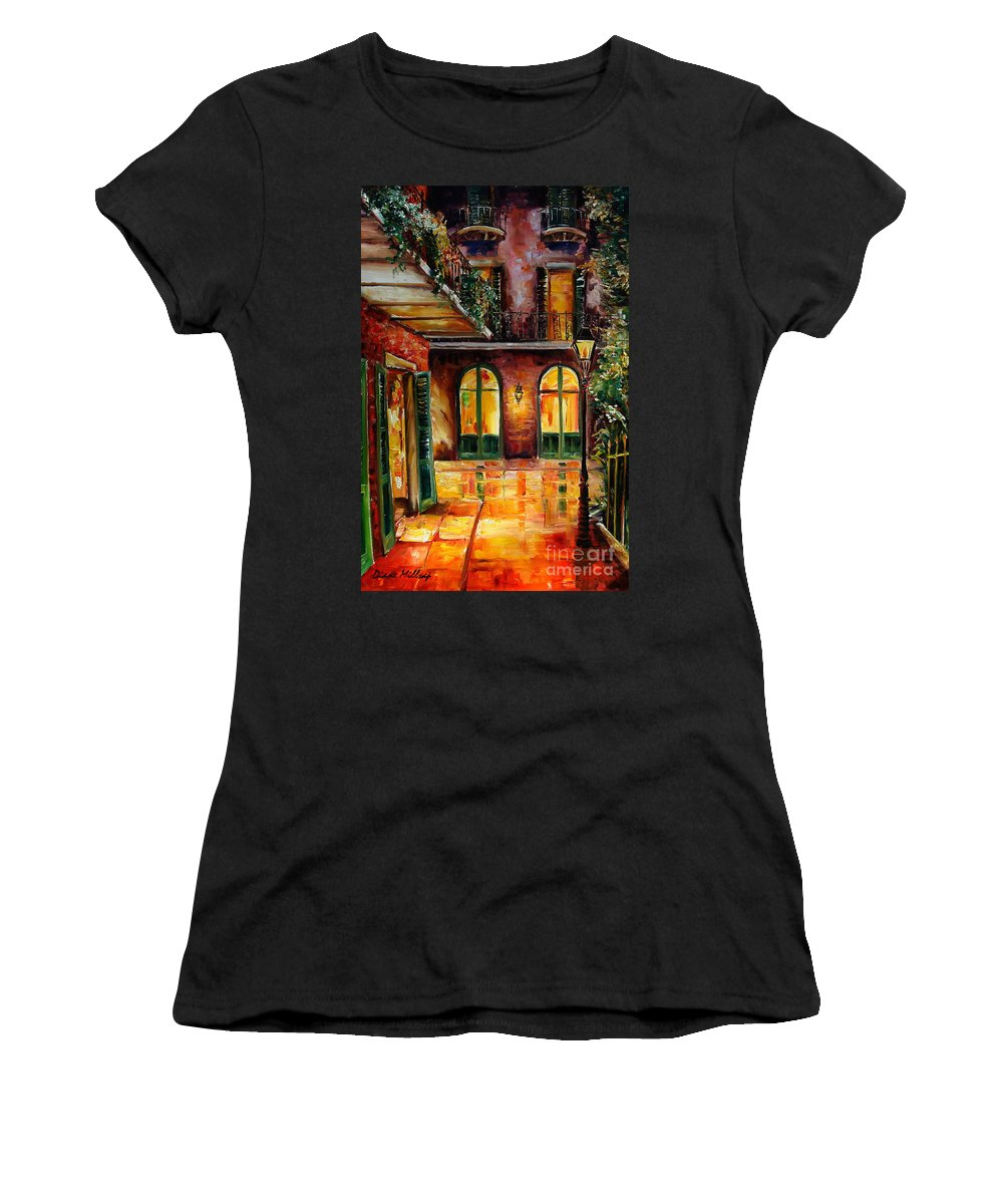 New Orleans Women's T-Shirt (Athletic Fit) featuring the painting French Quarter Alley by Diane Millsap