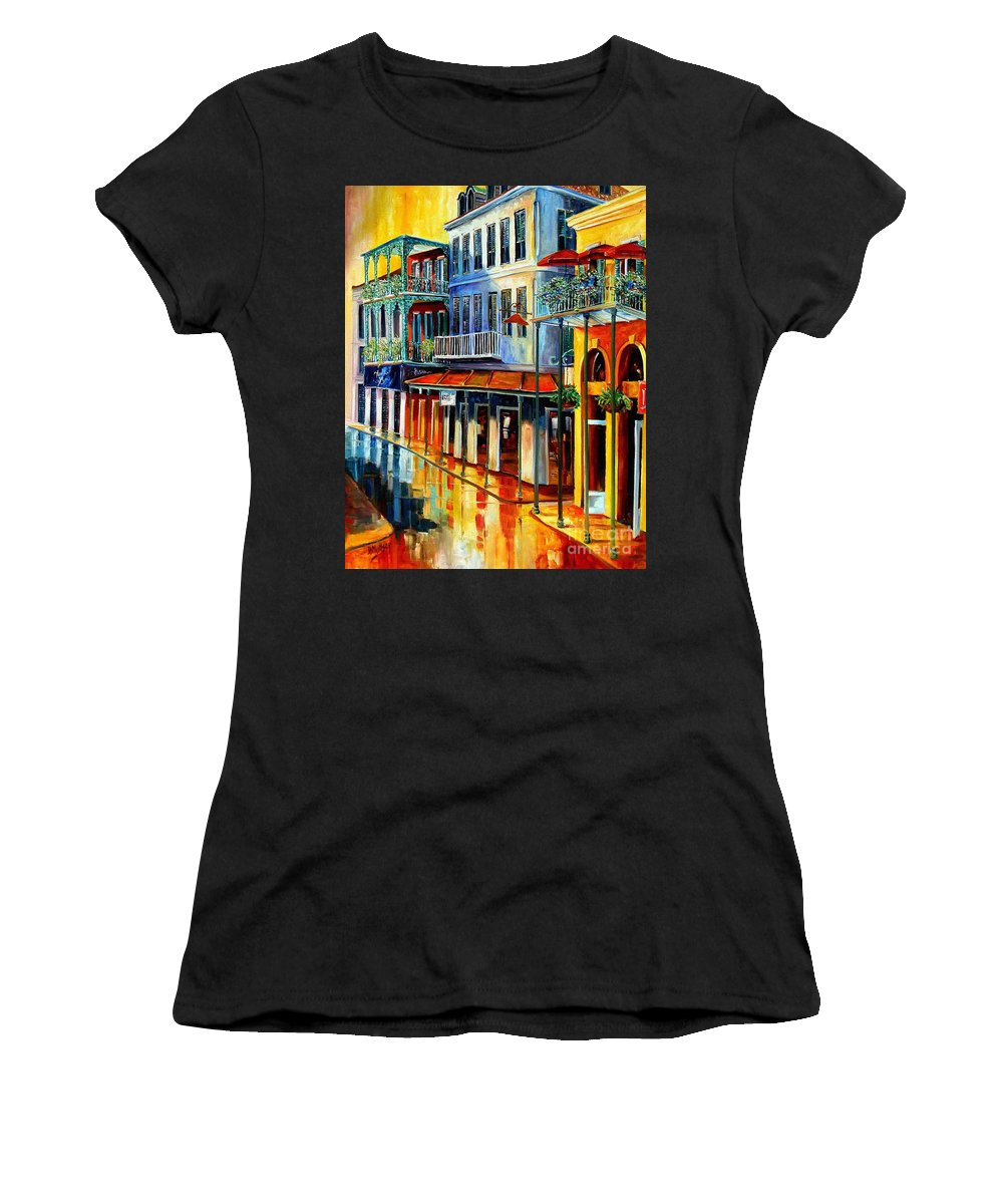 New Orleans Paintins Women's T-Shirt (Athletic Fit) featuring the painting French Quarter Sunrise by Diane Millsap