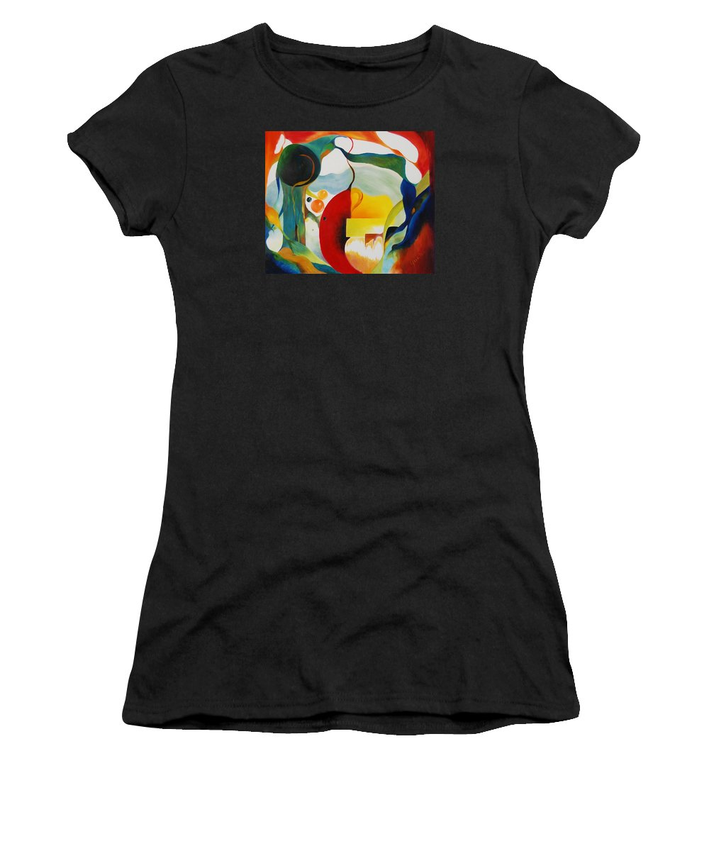 Abstract Women's T-Shirt (Athletic Fit) featuring the painting Frenzy by Peggy Guichu