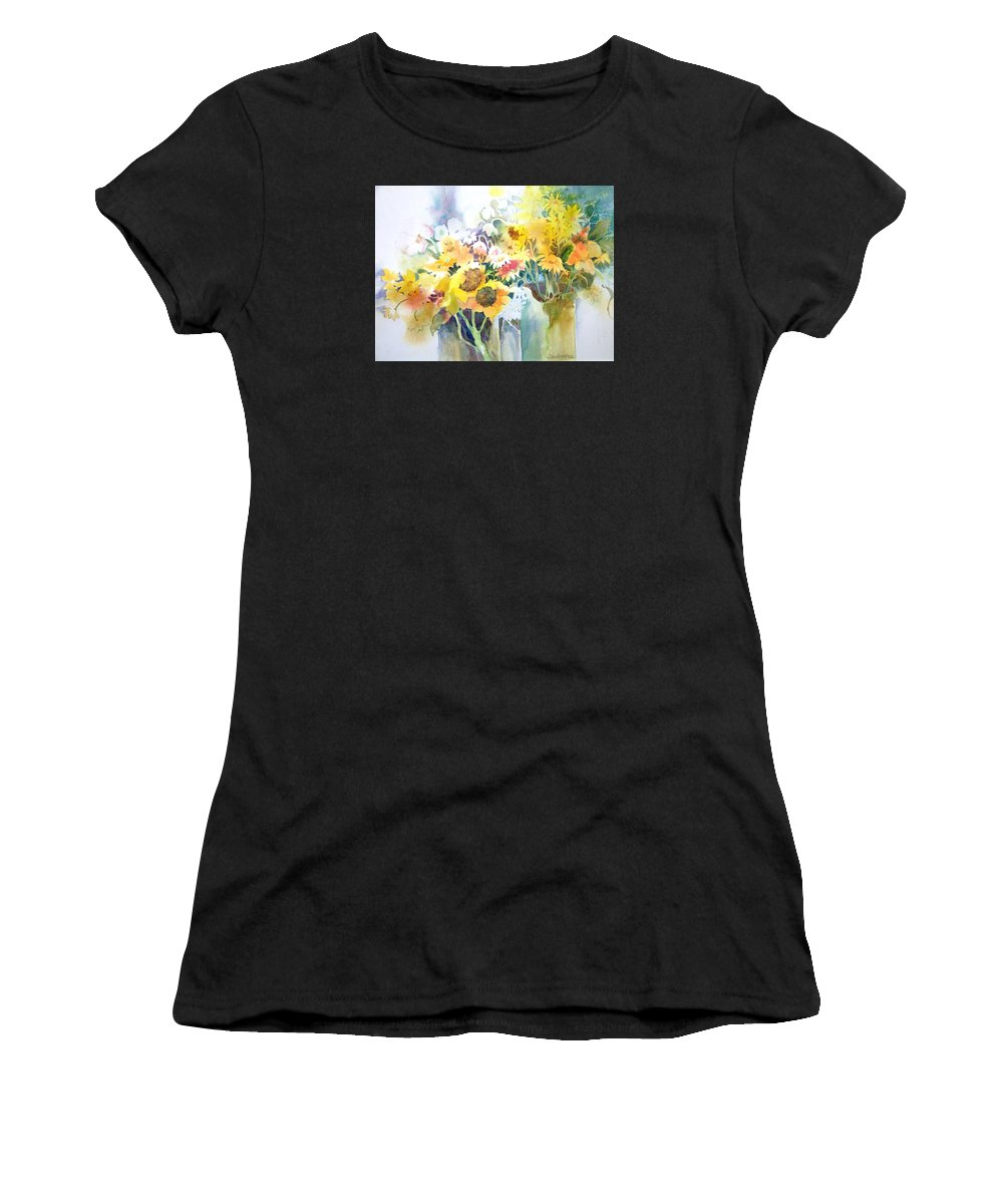 Contemporary;watercolor;sunflowers;daisies;floral; Women's T-Shirt (Athletic Fit) featuring the painting Fresh-picked by Lois Mountz