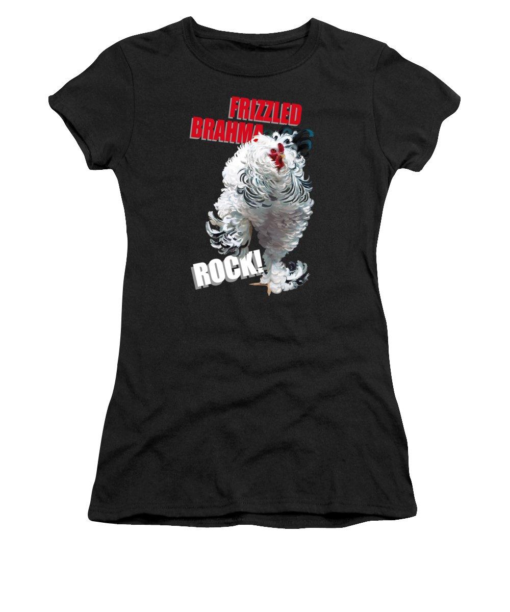 Frizzled Brahma Light Brahma Women's T-Shirt featuring the digital art Frizzled Brahma T-shirt Print by Sigrid Van Dort