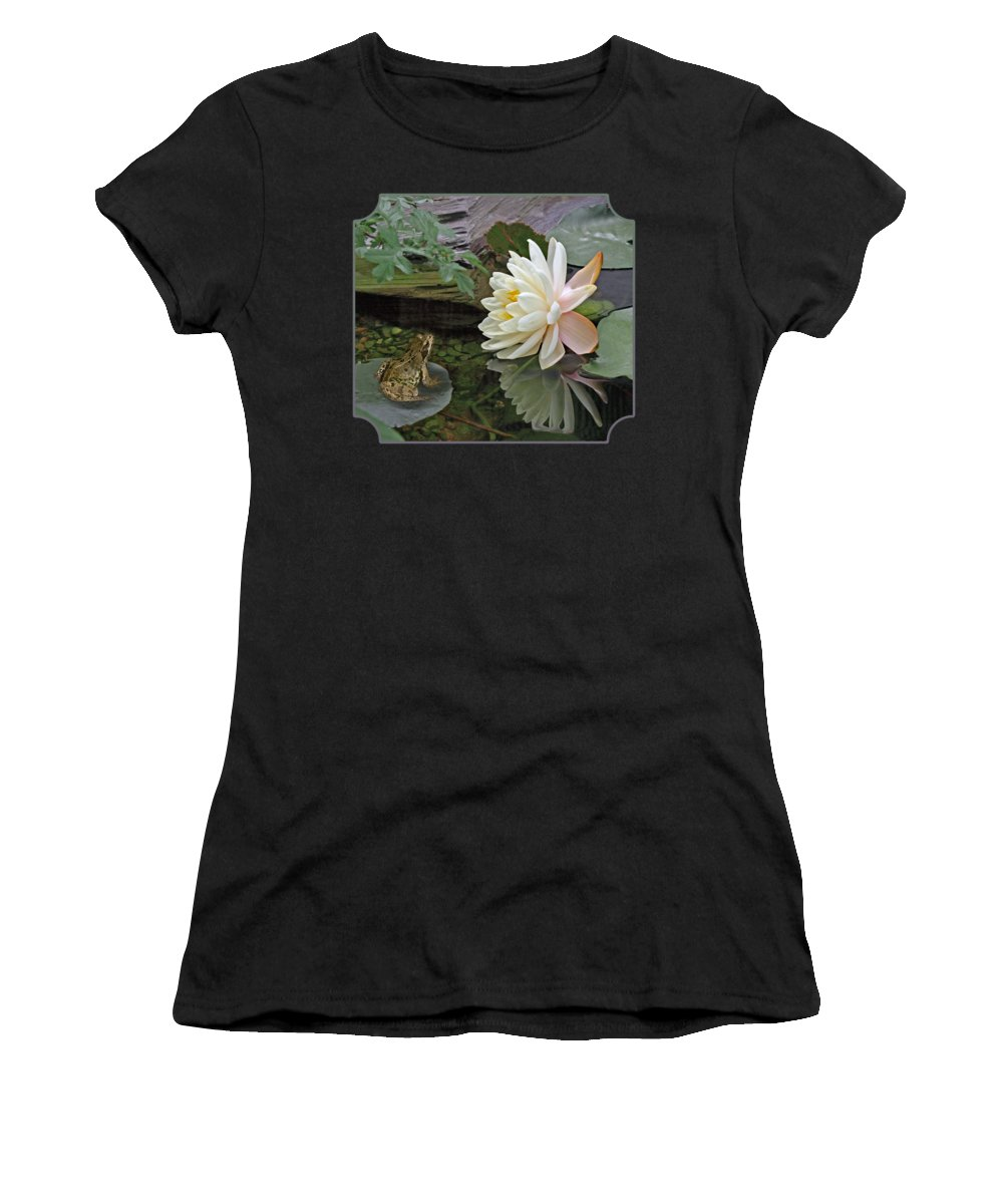 White Waterlily Women's T-Shirt featuring the photograph Frog In Awe Of White Water Lily by Gill Billington