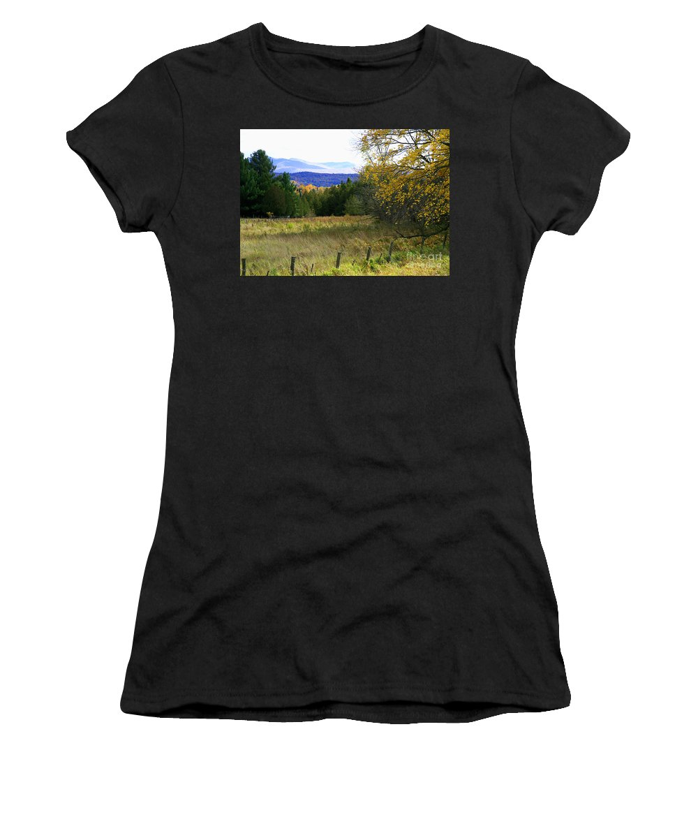 Landscape Women's T-Shirt (Athletic Fit) featuring the photograph From The Field To The Mountains by Deborah Benoit