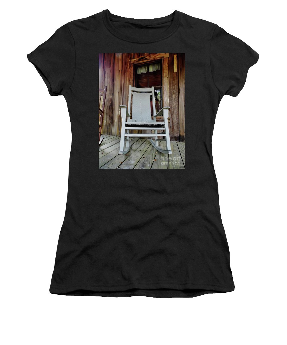 Porch Women's T-Shirt (Athletic Fit) featuring the photograph Front Porch Rocker by D Hackett