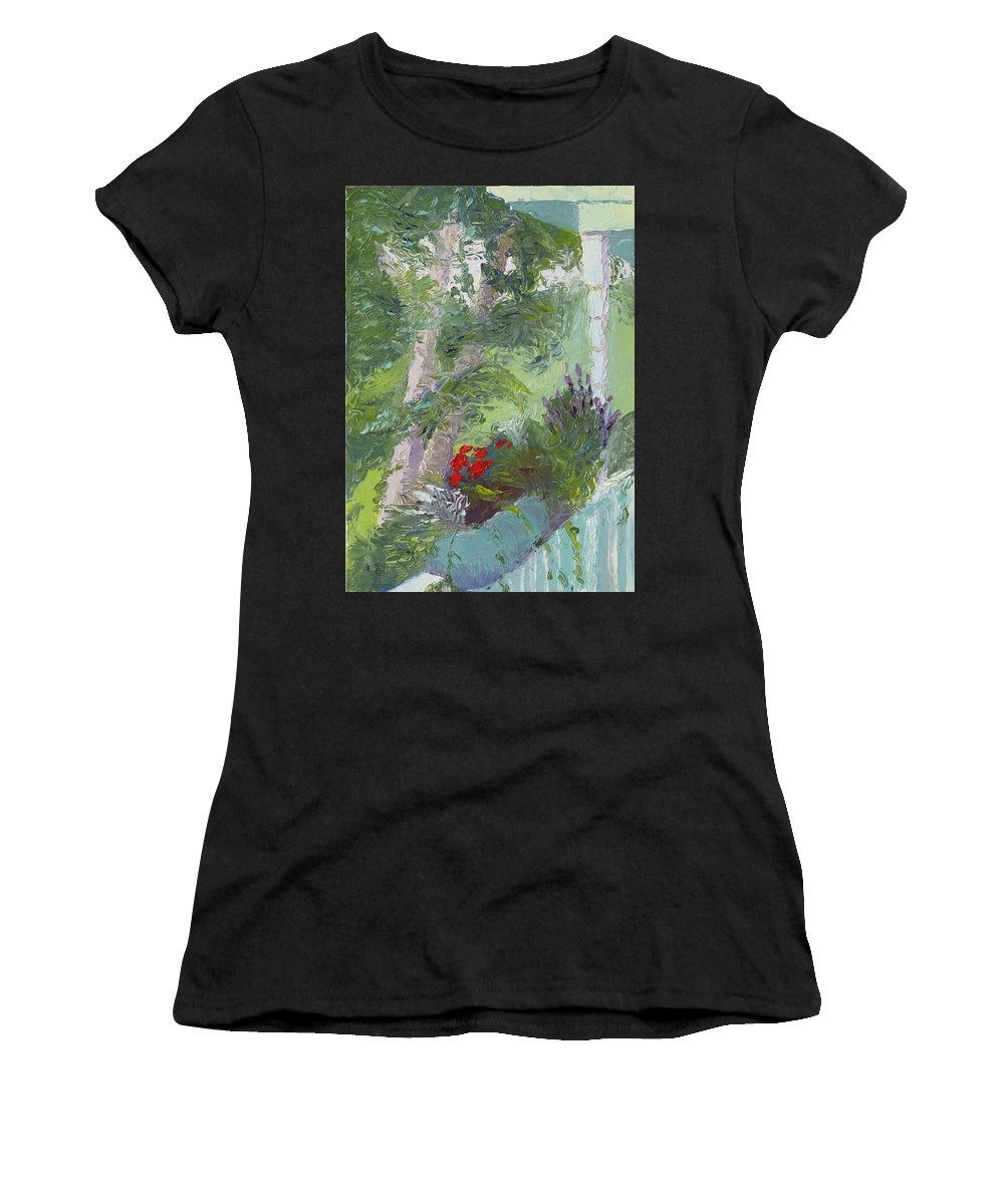 Porch Painting Women's T-Shirt (Athletic Fit) featuring the painting Front Porch View by Lea Novak