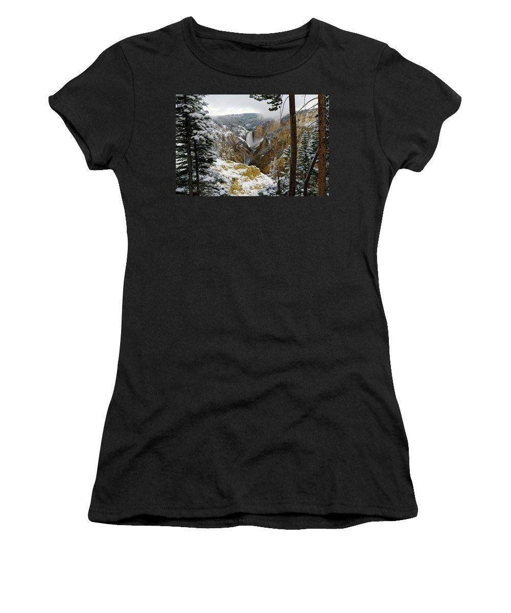 Yellowstone Women's T-Shirt featuring the photograph Frosted Canyon by Steve Stuller