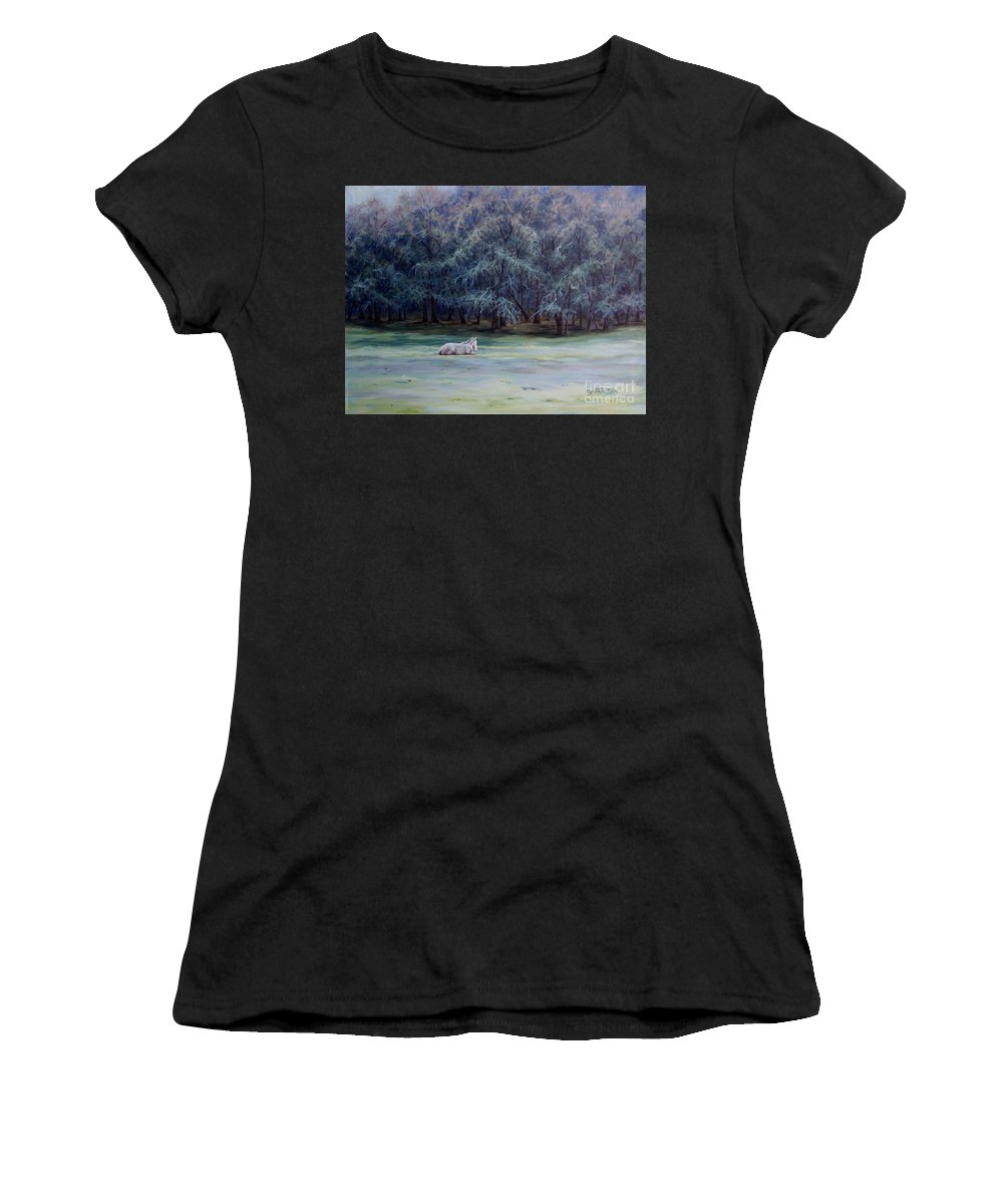 Horse Oil Painting Women's T-Shirt (Athletic Fit) featuring the painting Frosty Morning by Cynthia Riley