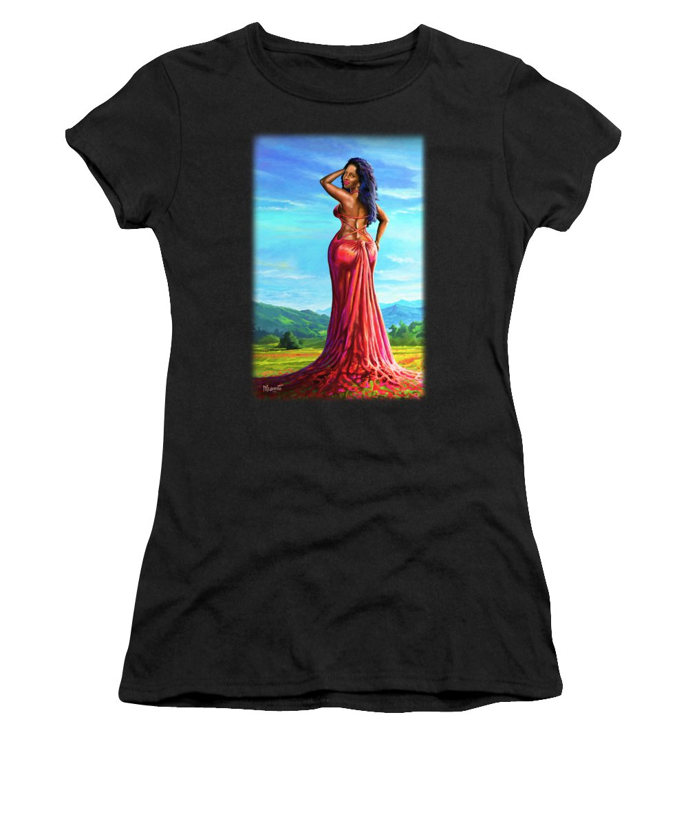 Portrait Women's T-Shirt featuring the painting Summer Blossom by Anthony Mwangi