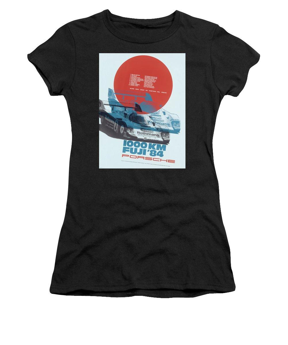 1000km Fuji Women's T-Shirt featuring the digital art Fuji 1000 Kilometres Porsche 1984 by Georgia Fowler