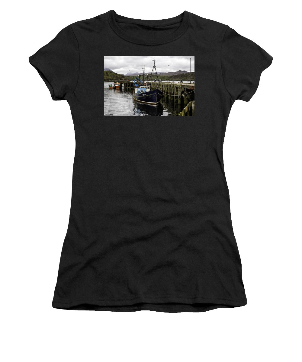 Harbor Women's T-Shirt featuring the photograph Gairloch Harbor by Fran Gallogly