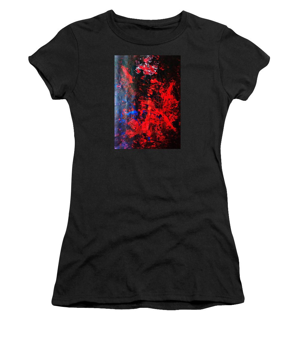Abstract Art Women's T-Shirt (Athletic Fit) featuring the painting Galaxy Without Gravity by John Dossman