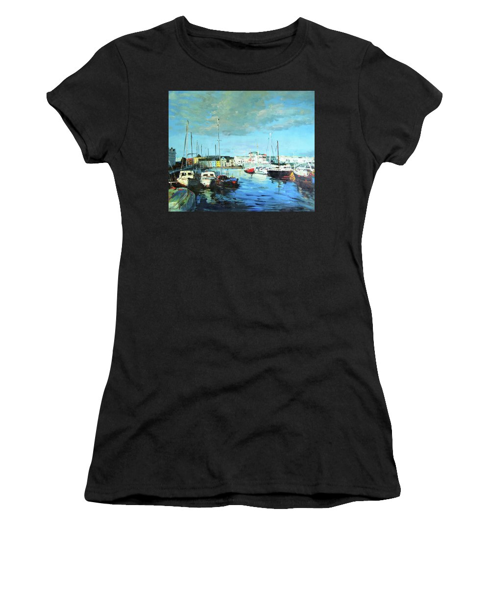 Galway Women's T-Shirt (Athletic Fit) featuring the painting Galway Docks by Conor McGuire