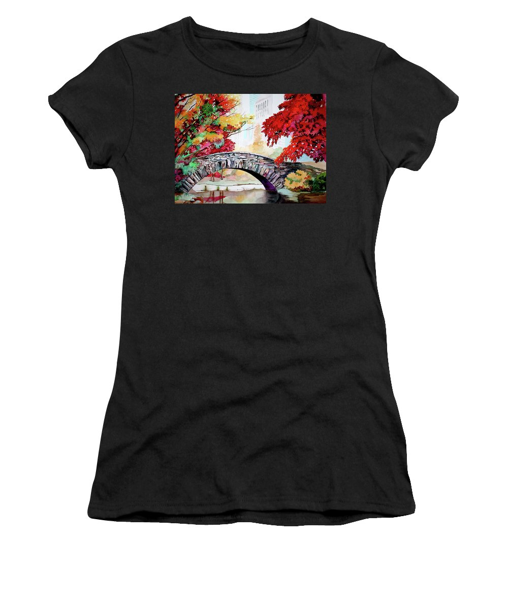Gapstow Women's T-Shirt (Athletic Fit) featuring the painting Gapstow Bridge I by Jelly Starnes