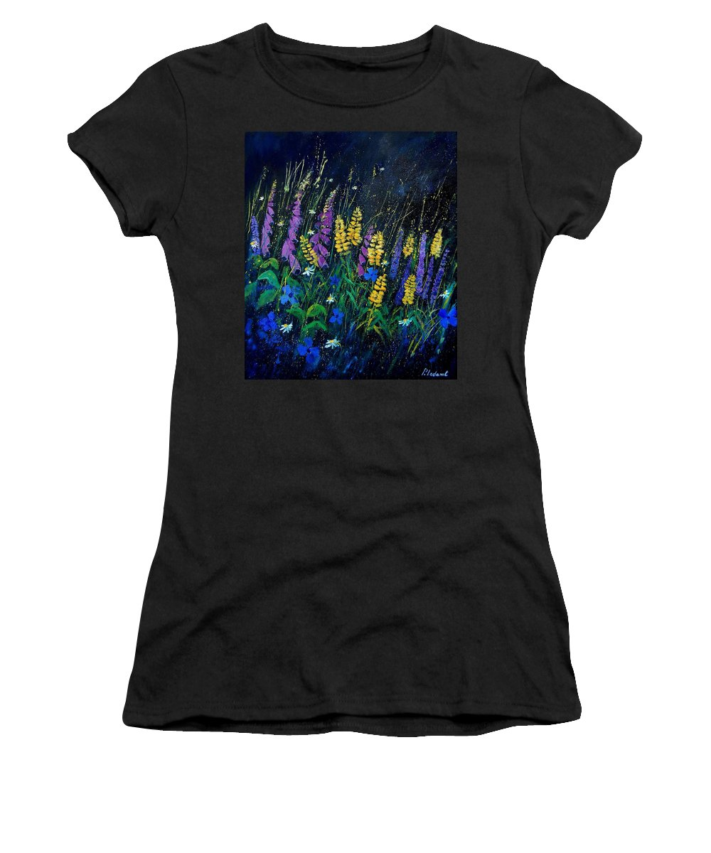 Flowers Women's T-Shirt (Athletic Fit) featuring the painting Garden Flowers 679080 by Pol Ledent
