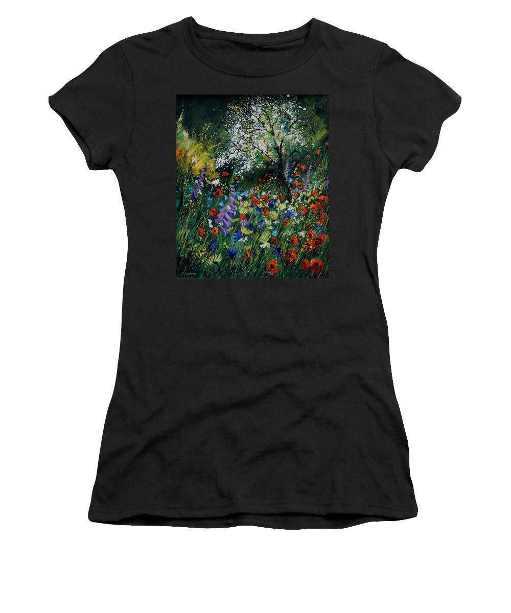 Flowers Women's T-Shirt (Athletic Fit) featuring the painting Garden Flowers by Pol Ledent