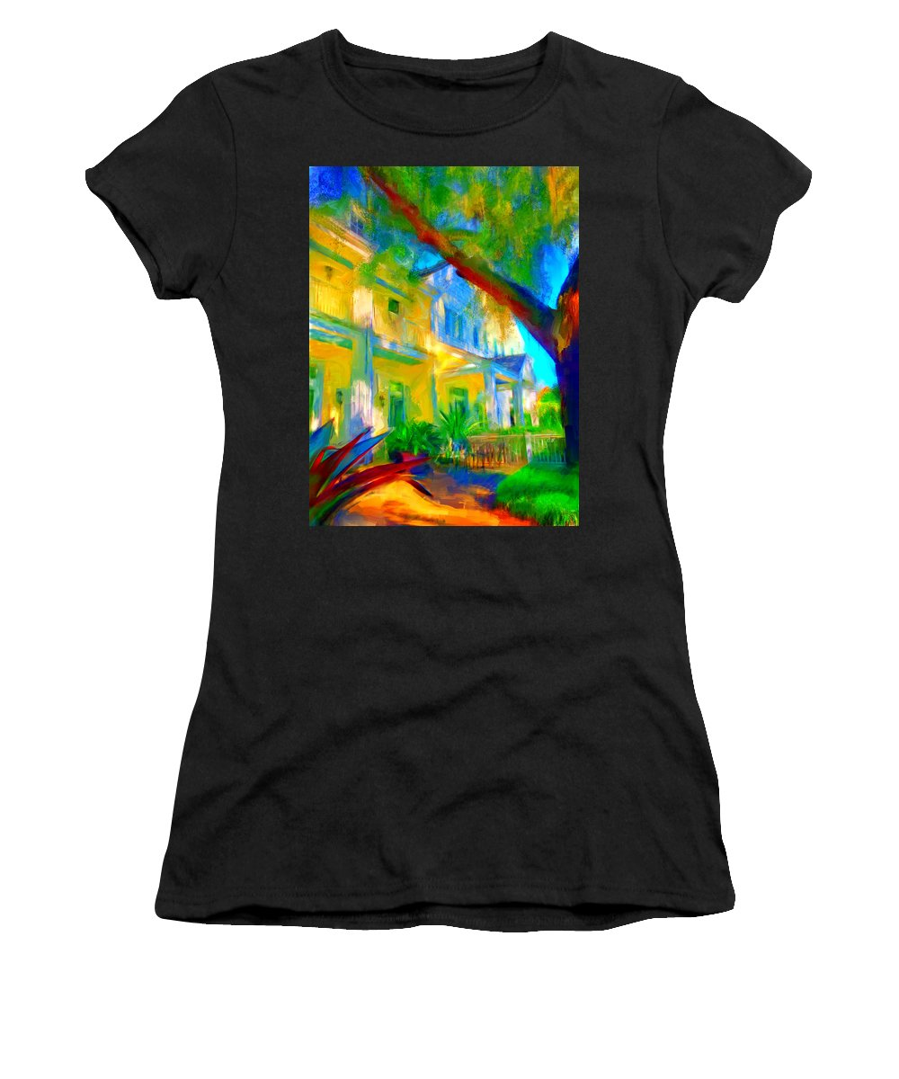 House Women's T-Shirt (Athletic Fit) featuring the digital art Garden House by Nancy Faircloth