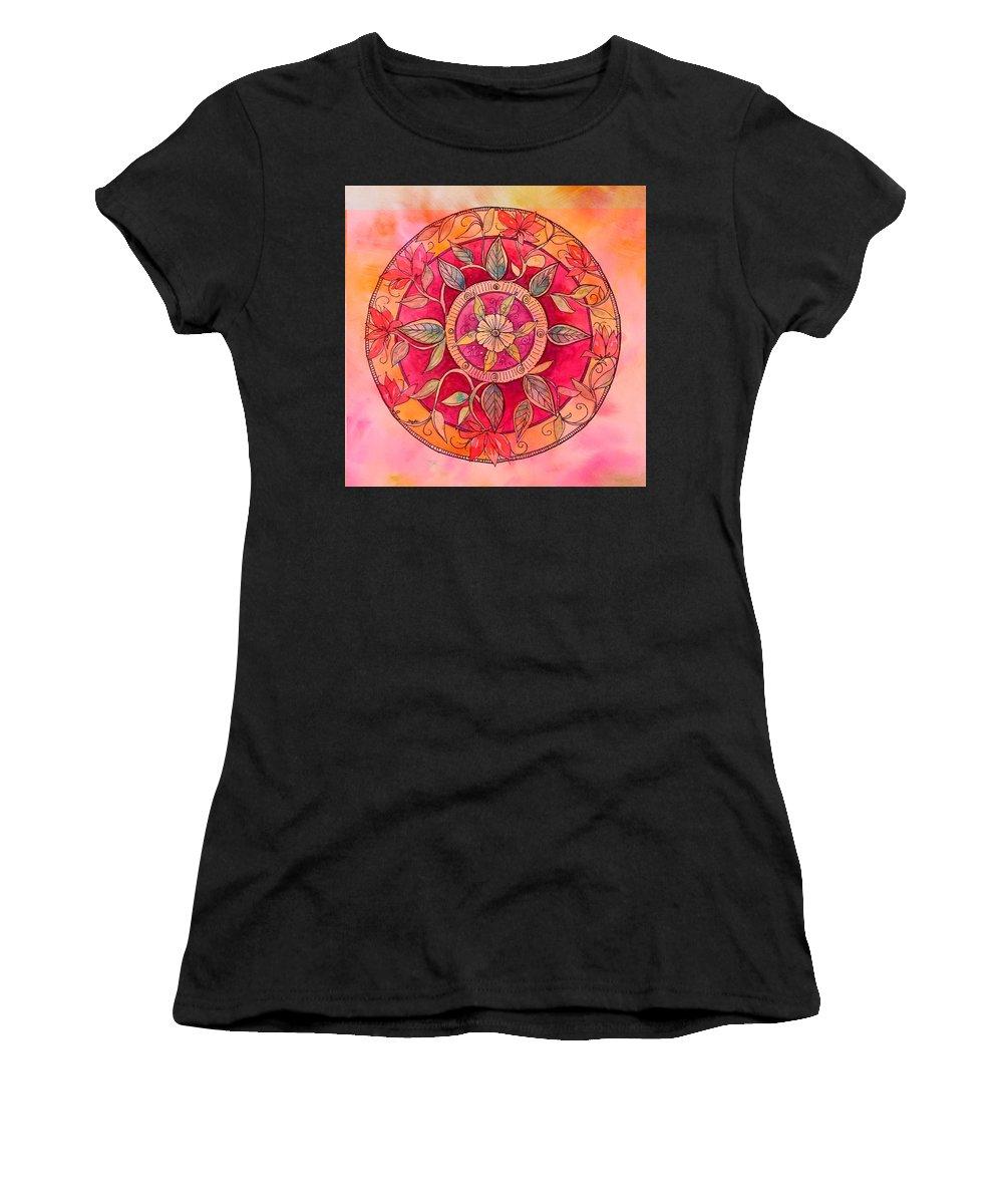 Mandala Women's T-Shirt featuring the painting Garden Mandala by Sherri Snyder