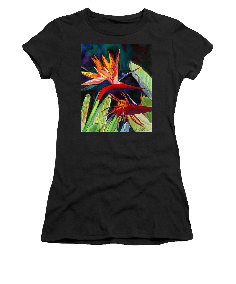 Bird Women's T-Shirt featuring the painting Garden Of Paradise by Marionette Taboniar