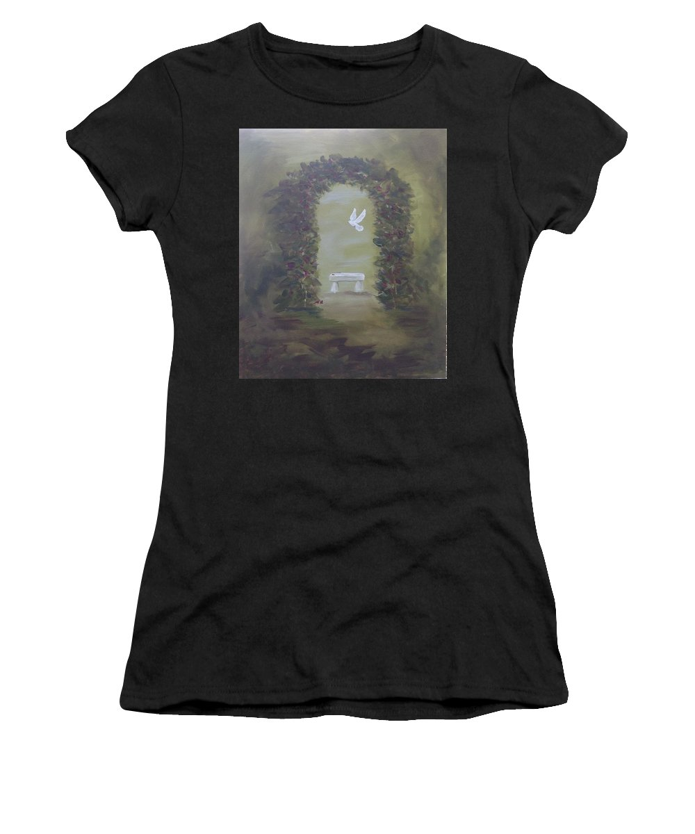 Nature Women's T-Shirt featuring the painting Garden Of Peace by Kimberley Gates