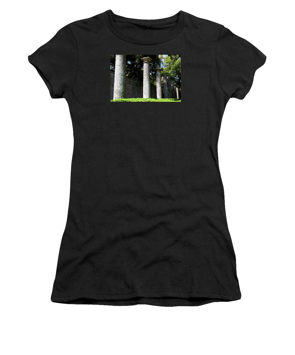 Villa Lante Women's T-Shirt (Athletic Fit) featuring the photograph Garden Pillars by Valentino Visentini