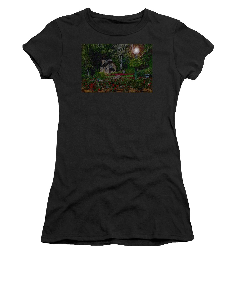 Dusk Women's T-Shirt (Athletic Fit) featuring the mixed media Garden Sleeping by Shirley Heyn
