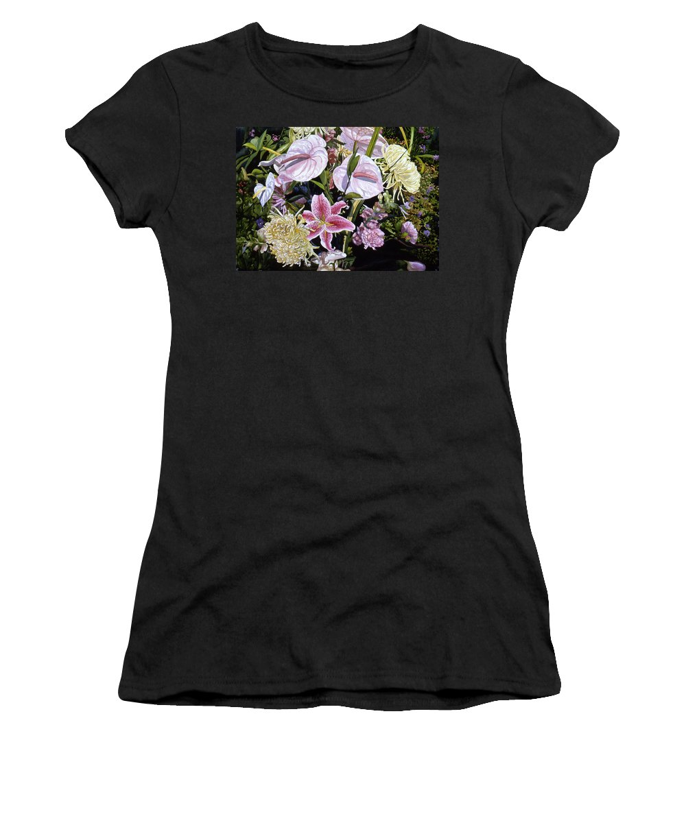Watercolor Women's T-Shirt (Athletic Fit) featuring the painting Garden Song by Teri Starkweather