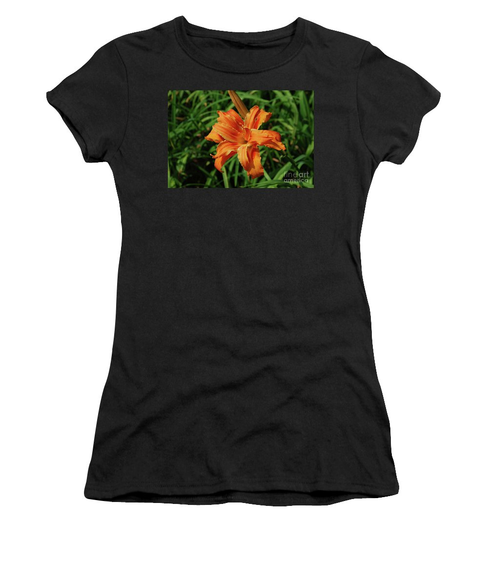 Lily Women's T-Shirt (Athletic Fit) featuring the photograph Garden With A Blooming Double Daylily Flowering by DejaVu Designs