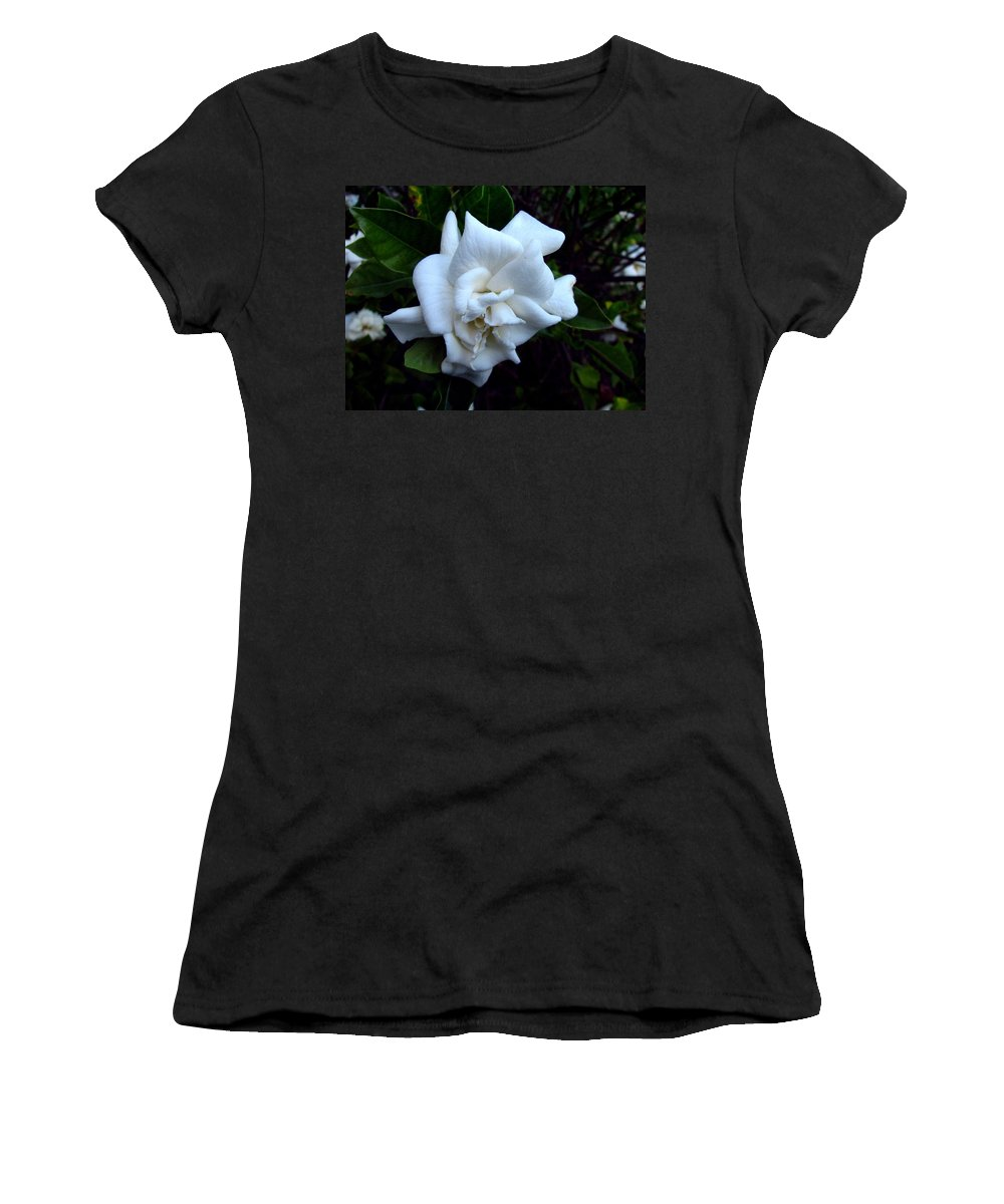 Gardenia Women's T-Shirt (Athletic Fit) featuring the photograph Gardenia 3 by J M Farris Photography