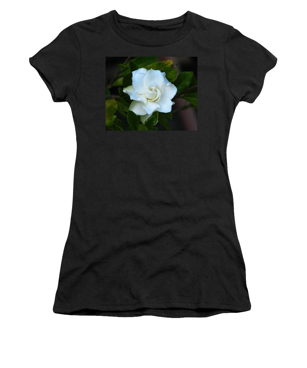 Gardenia Women's T-Shirt (Athletic Fit) featuring the photograph Gardenia 5 by J M Farris Photography
