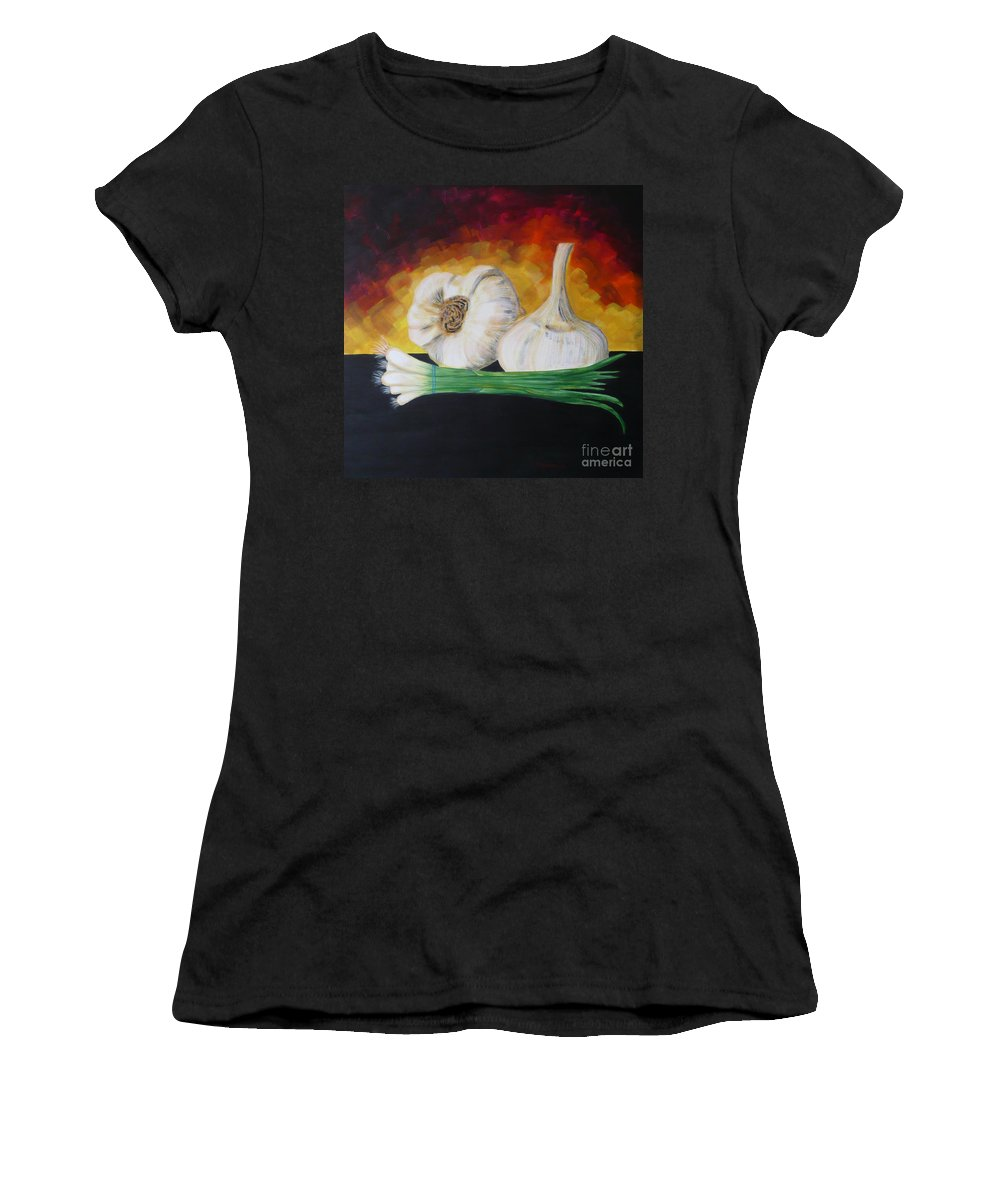 Garlic Women's T-Shirt (Athletic Fit) featuring the painting Garlic And Onion by Monika Shepherdson
