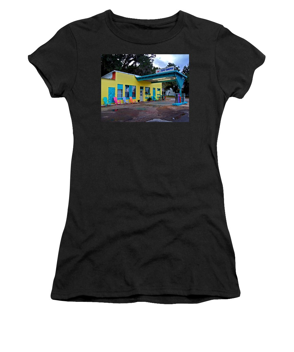 Fairhope Women's T-Shirt (Athletic Fit) featuring the painting Gas Station With Style by Michael Thomas