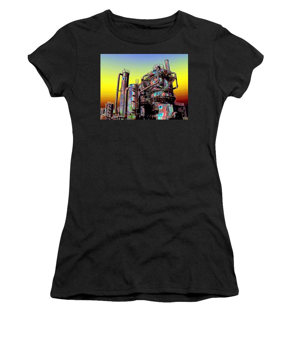 Seattle Women's T-Shirt (Athletic Fit) featuring the digital art Gasworks Park 1 by Tim Allen