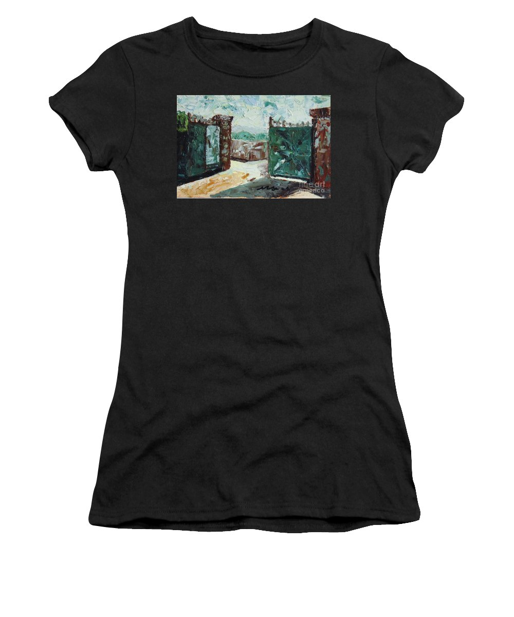 Gate Oil Canvas Women's T-Shirt (Athletic Fit) featuring the painting Gate2 by Seon-Jeong Kim
